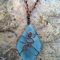 Turquoise Vintage Glass Necklace with Copper Chain and Charm
