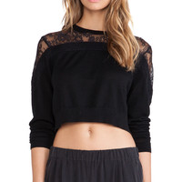 Tibi Cropped Lace Sweater in Black