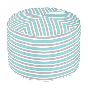 Blue, Gray and White Stripe Pouf