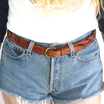 Vintage LEATHER Woven Braided Brown Patina Belt // High Low Waist // Hippie Bohemian Gypsy Southwestern Western // Small / Medium / Large