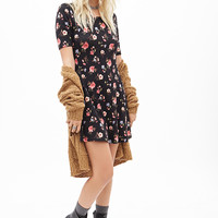 FOREVER 21 Mixed Floral Print Dress Black/Multi