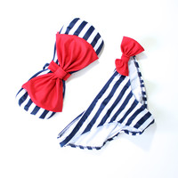sailor gal bow bandeau bikini swimsuit bathing suit beach bunny babe life vacation wear summer spring 4th of july memorial day weekend