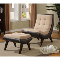 Albury Two-tone Peat Velvet Faux Bi-Cast Leather Chair with Ottoman | Overstock.com