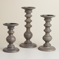 Gray Wood Pillar Candleholder - World Market