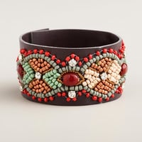 Embellished Leather Snap Bracelet - World Market