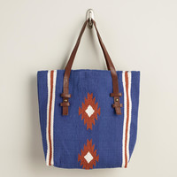 Navy Southwest Woven Tote - World Market