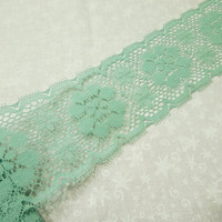 1 yard of 3 inch celadon green chantilly galloon lace trim for bridal, baby, lingerie, home decor by MarlenesAttic