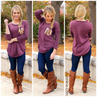 Touch of Sparkle Tunic - Wine - WINE /