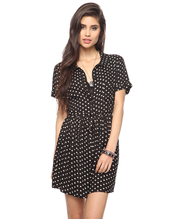 Self-Tie Polka Dot Dress