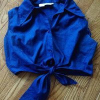 Vintage Blue 1950s Cropped Tie Up Shirt
