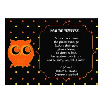 Cute Owl Halloween Party Invitations