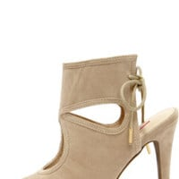 Came and Vent Natural Suede Lace-Back Shootie Heels