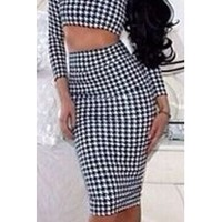 Black White Houndstooth Checkered Long Sleeve Crop Top High Waist Fitted Pencil Midi Skirt Set