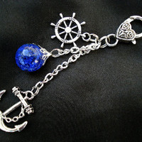 Nautical Anchor Deep Blue Love Crackle Glass Marble Rudder Keychain