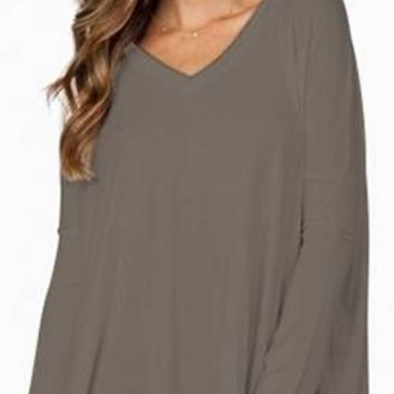 Bamboo Piko Olive Army Green Long Sleeve Soft Tee Shirt Loose Slouch V Neck NWT