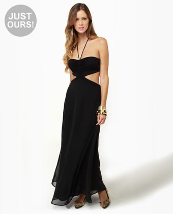 LULUS Exclusive Long Division Black Maxi Dress