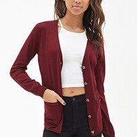FOREVER 21 V-Neck Cardigan Burgundy