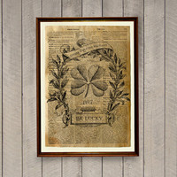 Be lucky poster Motivational print Rustic decor