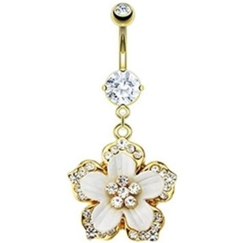 Gold & White Hawiian Flower Belly Button Ring