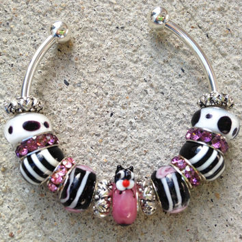 Murano Glass Cat Charm Bangle Bracelet