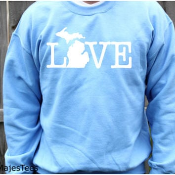 Michigan Love Sweatshirt, State, Home, Mitten