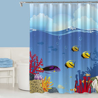 Tropical beach decorative shower curtain, contemporary bathroom decor, blue shower curtain, bathroom accessories, Under the Sea