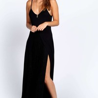 Hallie Lace Insert Split Maxi Dress