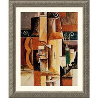 Great American Picture Violin and Guitar Silver Framed Print - Pablo Picasso - 9958-Silver