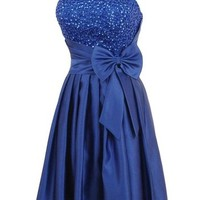 Bulutu Satin Strapless Sequins Cocktail Homecoming Party Dress Prom Dress