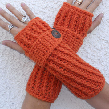 Pumpkin spice long ribbed with wrist strap crochet button arm warmers, fingerless gloves