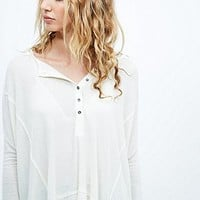 Free People Nicest Waffle Long Sleeve Henley Tee in Cream - Urban Outfitters