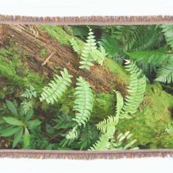 Fern woodland throw blanket, woven eco-friendly home decor, nz forest floor photography, green foliage living room, bedroom accessory