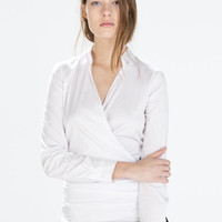 Draped poplin blouse