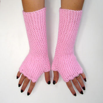 Pink fingerless mittens in soft acrylic, texting gloves, seamless handknit soft armwarmers, choose your color