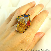 Rainbow white gold mushroom ring, Red yellow green blue polymer clay faux cloisonne, Poisonous toadstool modern jewelry, Colorful boho