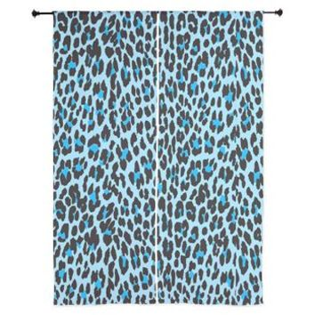 Animal Print, Spotted Leopard - Blue Black Curtain> Animal Print, Spotted Leopard> Strawberry and Hearts