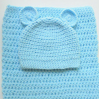 Light Pastel Blue Baby Cocoon And Hat With Ears   Infant Boy  Bunting And Cap  Newborn Girl Snuggle Sleep Sack With  Beanie Shower Gift Set