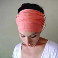 Coral Head Scarf, Hair Wrap, Headband - All In One Womens Neck Bow - Ascot - Fabric Belt, Sash - Coral Jersey Cotton