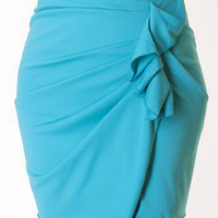 TURQUOISE RUCHED SIDE SKIRT @ KiwiLook fashion