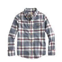 BOYS' BRUSHED TWILL SHIRT IN EXPLORER BLUE PLAID