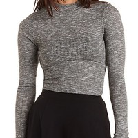 Ribbed Turtleneck Crop Top by Charlotte Russe - Black Combo