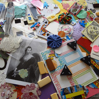 lot of over 100 pieces of paper ephemera / vintage / book pages  / bamboo tiles /game pieces/assemblage/smash book/junk journal
