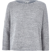 River Island Womens Grey boucle knitted boxy top