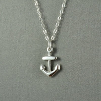 Tiny Anchor Necklace,Sterling Silver, Modern, Simple, Delicate, Everyday Wear Necklace