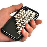 Iphone 4 case - silver studded 2 part black case