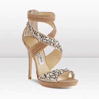Jimmy Choo | Kani | Pleated Suede and Swarovski Crystal Embroidered Sandal | JIMMYCHOO.COM