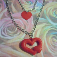Queen of hearts double chain necklace