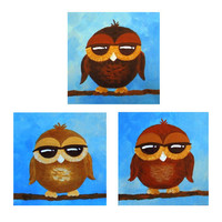 Original painting, 3 WHIMSICAL BROWN OWLS, Set of Three 6x6x1.5 Acrylic canvas, Owl decor, original owl art, owl paintings, nursery