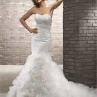 Gorgeous strapless sweep train mermaid white wedding dresses 2012 BAML0071