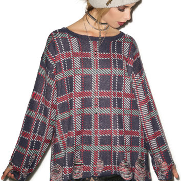 Wildfox Couture All Over Plaid Tight Knit Multi